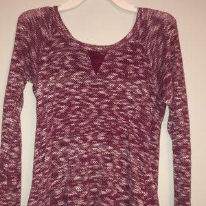 Soft yarn red and white dress shirt lace back